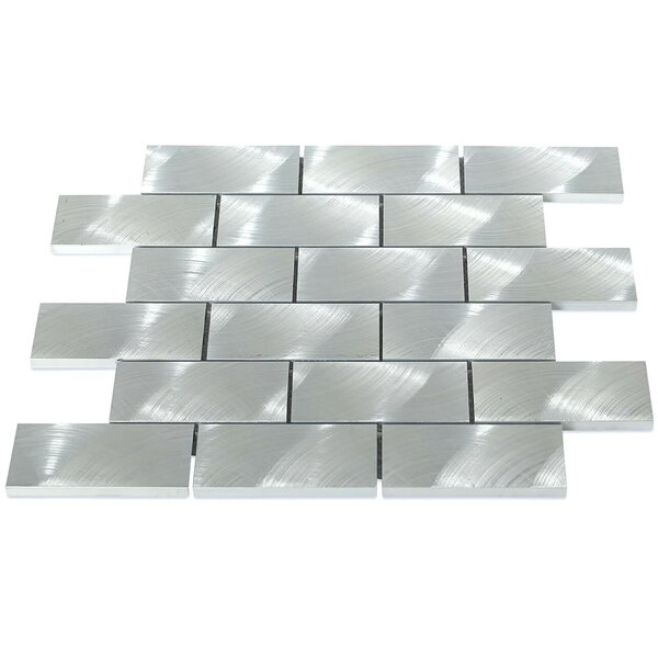 Urban 2 x 4 Metal Mosaic Tile in Silver by Splashback Tile