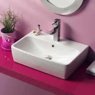 Poco Ceramic Rectangular Vessel Bathroom Sink with Overflow ByCeraStyle by Nameeks