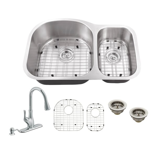 31.5 L x 20.5 W Double Bowl Undermount Kitchen Sink with Faucet by Soleil