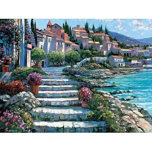 Steps of St. Tropez by Howard Behrens Painting Print on Canvas by Printfinders