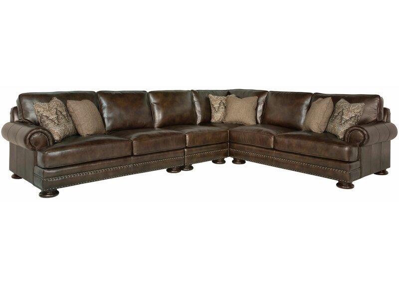 "Bernhardt Foster Leather 122"" Modular Sectional | Wayfair"