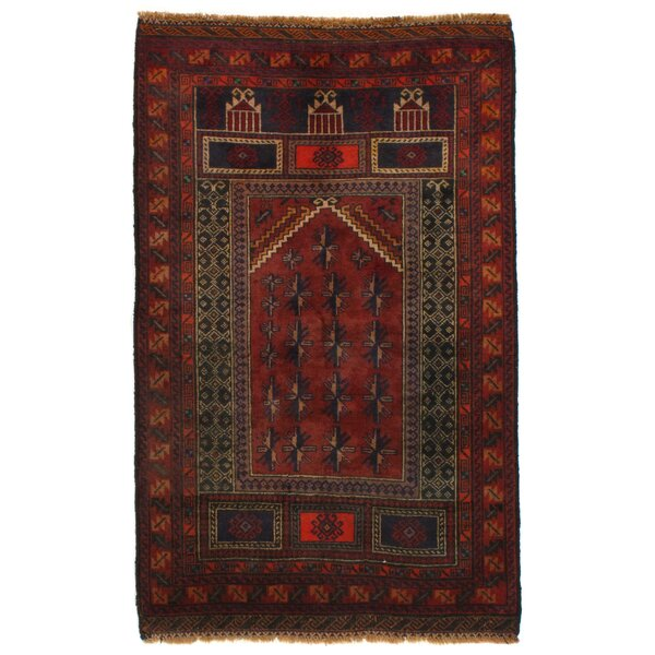 Afghan Baluch Hand-Knotted Wool Rust Area Rug by Pasargad NY