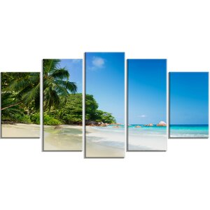 'Beautiful Praslin Island Seychelles' 5 Piece Photographic Print on Wrapped Canvas Set by Design Art