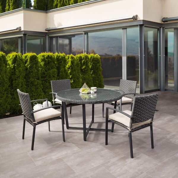 Darcella Wide 5 Piece Dining Set with Cushions by Highland Dunes Highland Dunes