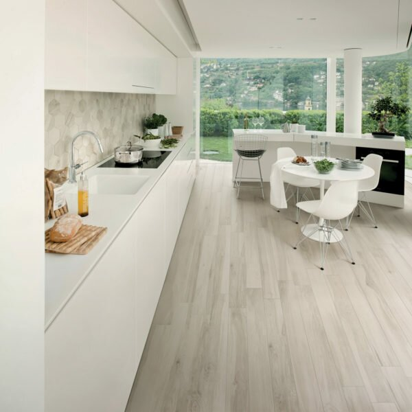 Abete 10 x 40 Porcelain Wood Look Tile in Light Tan/Gray by QDI Surfaces