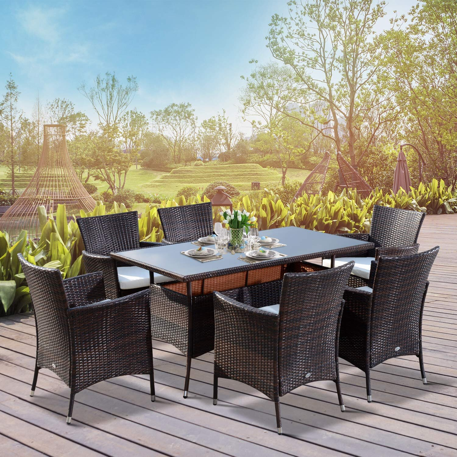 Garden Patio 6 or 8 Seater Dining Set Table Chairs Solid Pine Furniture Outdoor
