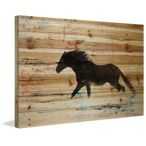 'Black Horse Stride' by Parvez Taj Painting Print on Natural Pine Wood by Parvez Taj