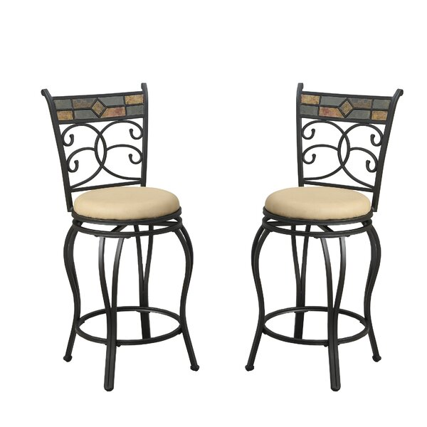 Bobkona Adney 24 Swivel Bar Stool (Set of 2) by Poundex