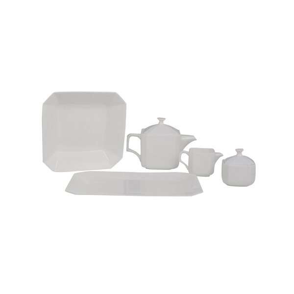 Octago Square Bone China Traditional Serving 5 Piece Dinnerware Set by Shinepukur Ceramics USA, Inc.