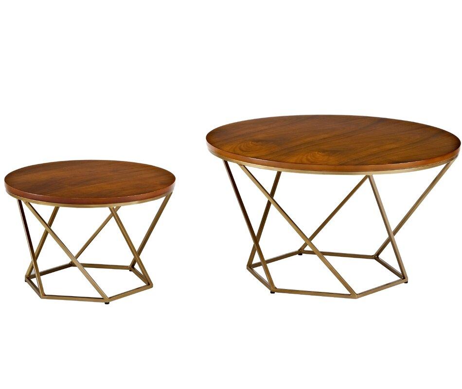 Harper Geometric Wood 2 Piece Coffee Table Set