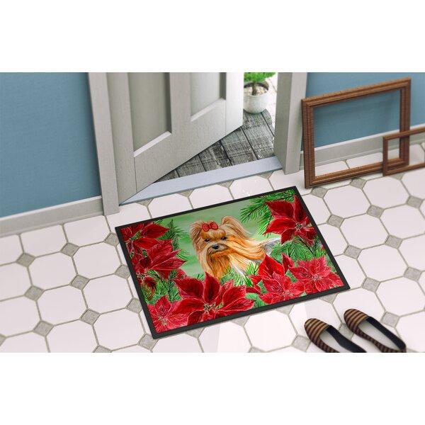 Yorkshire Terrier Poinsettas Non-Slip Outdoor Door Mat