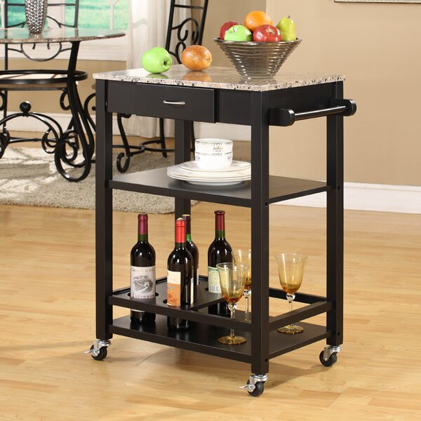 Jamestown Kitchen Cart with Faux Marble Top by Andover Mills