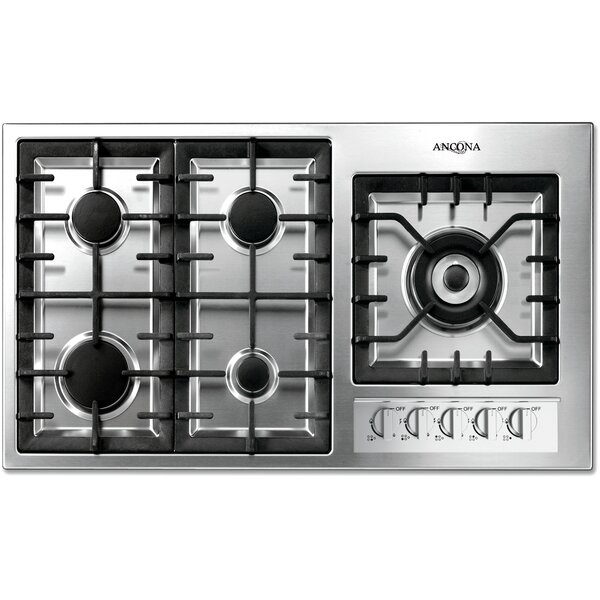 Ancona 36 Gas Cooktop with 5 Burners and Wok Pan Support by Ancona