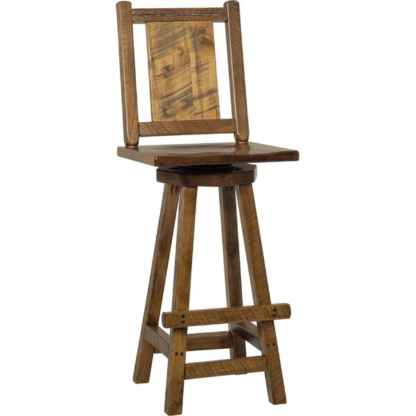 Topaz Western Twist Swivel Bar Stool - Provincial Stain (Set of 2) by Millwood Pines