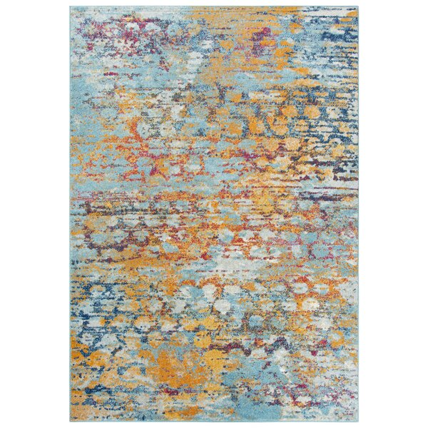 Burnette Blue/Yellow Area Rug by Bungalow Rose