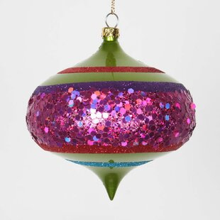 4ct lime green and cerise pink shatterproof christmas glitter onion ornaments 4 100mm - Lime Green Christmas Tree Decorations
