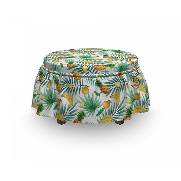Exotic Fruits Leaves 2 Piece Box Cushion Ottoman Slipcover Set By East Urban Home