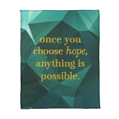 East Urban Home Faux Gemstone Choose Hope Quote Fleece Blanket East Urban Home Size 60 W X 80 L Weight Medium Color Emerald Gold From Wayfair North America Shefinds
