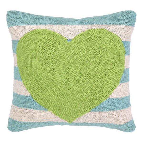 Heart With Stripe Hook Wool Throw Pillow by Peking Handicraft