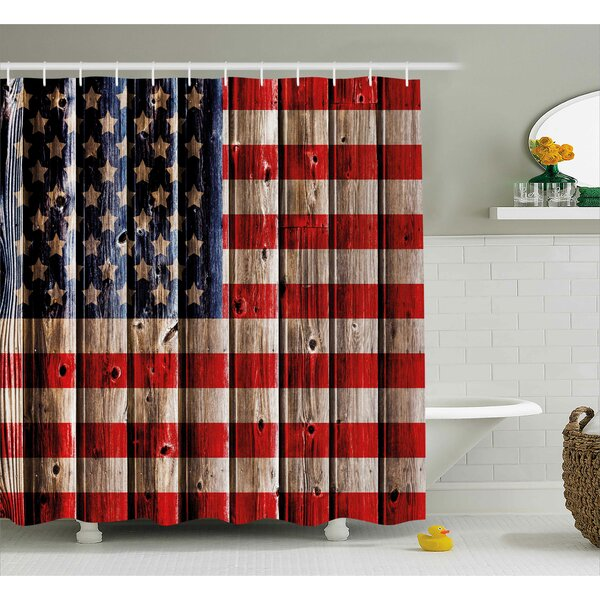 4th of July Happy National Day Liberty Freedom Democracy Country Patriarchal Graphic Shower Curtain by The Holiday Aisle