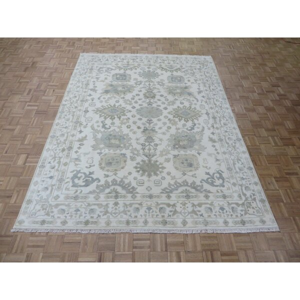 One-of-a-Kind Emerystone Hand-Knotted Rayon from Bamboo Silk Ivory Area Rug by Canora Grey
