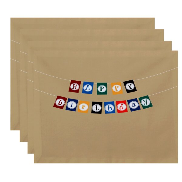 Happy Birthday Print Placemat (Set of 4) by The Holiday Aisle