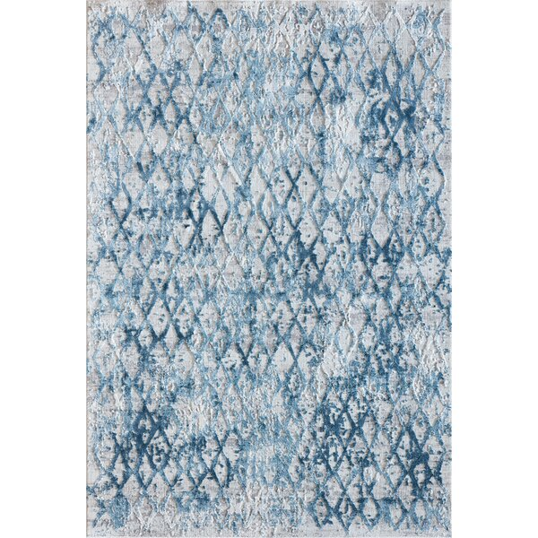 Grisby Ivory/Blue Area Rug by Bungalow Rose