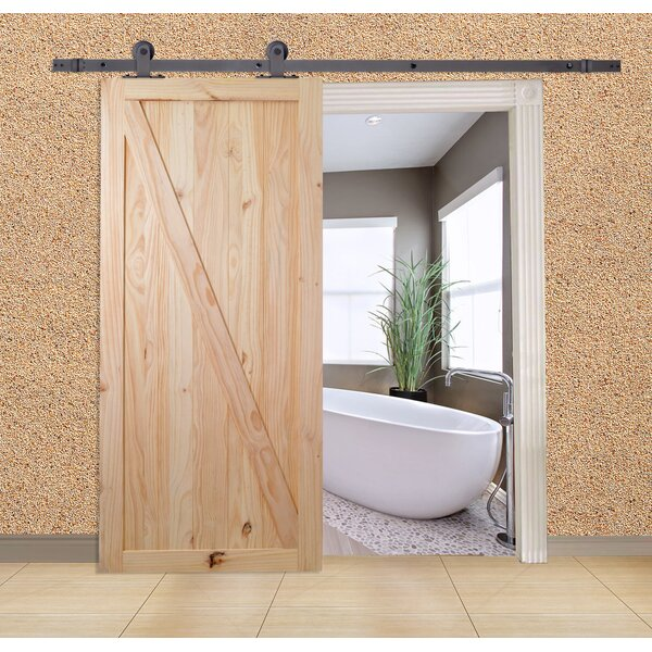 Unfinished Z-Bar Solid Wood Panelled Knotty Pine Slab Interior Barn Door by Calhome