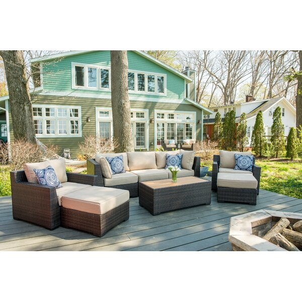 Coast 8 Piece Rattan Sectional Seating Group with Cushions by Rosecliff Heights