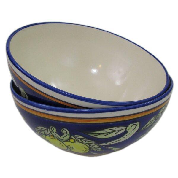 Citronique Deep Stoneware Serving Bowl (Set of 2) by Le Souk Ceramique