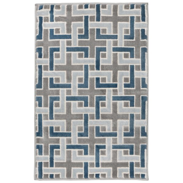 Kari Deco Blue/Gray Area Rug by Wrought Studio