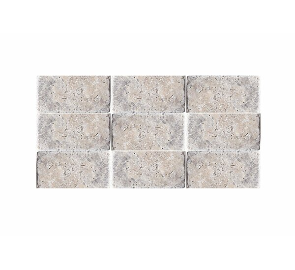 Tumbled 3 x 6 Natural Stone Subway Tile in Silver by Parvatile