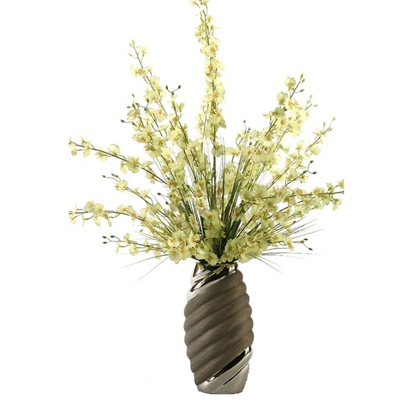 Oncidium Orchids in Tall Oval Ceramic Vase by Bloomsbury Market