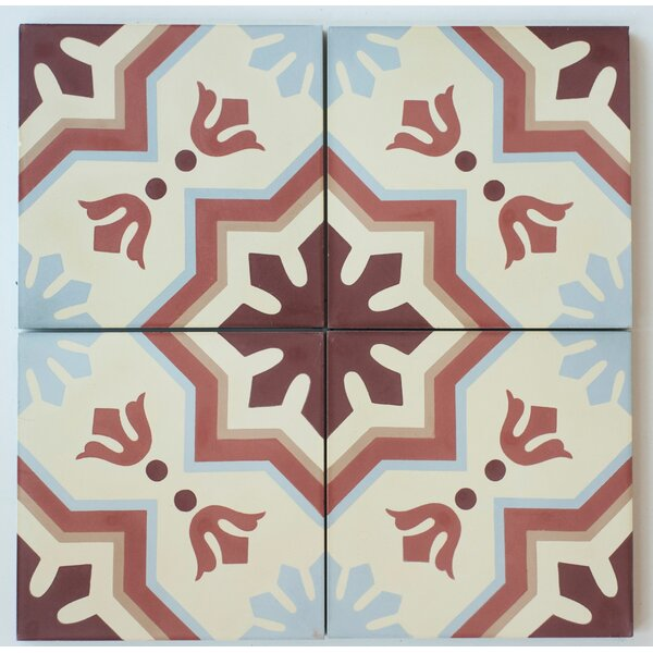 MeaLu 8 x 8 Cement Field/Patterned Tile in Terracotta/Beige (Set of 4) by Rustico Tile & Stone