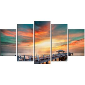 'Fascinating Sky and Wooden Bridge' 5 Piece Photographic Print on Wrapped Canvas Set by Design Art