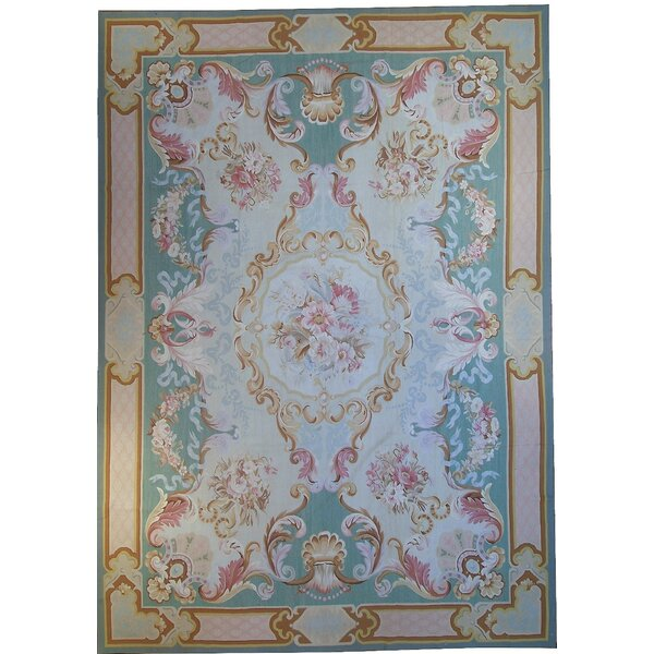 Aubusson Hand Woven Wool Teal/Light Blue Area Rug by Pasargad