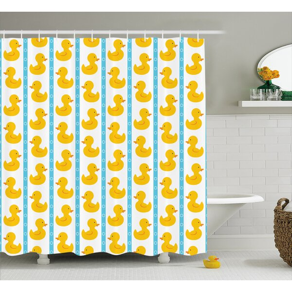 Jaleel Duck Baby Blue Stripes Shower Curtain by Harriet Bee