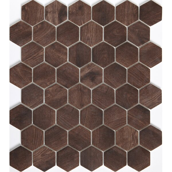Echo Hex 2 x 2 Glass Mosaic Tile in Brown by Emser Tile