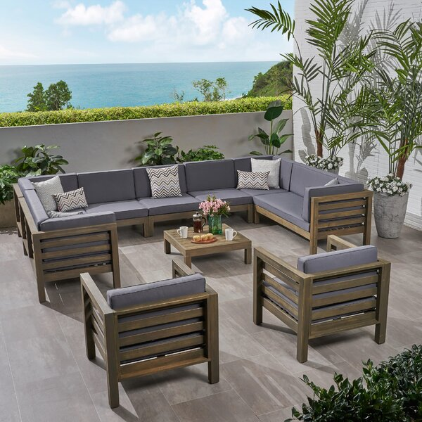 Kristin Outdoor 10 Piece Sectional Seating Group with Cushions by Corrigan Studio Corrigan Studio