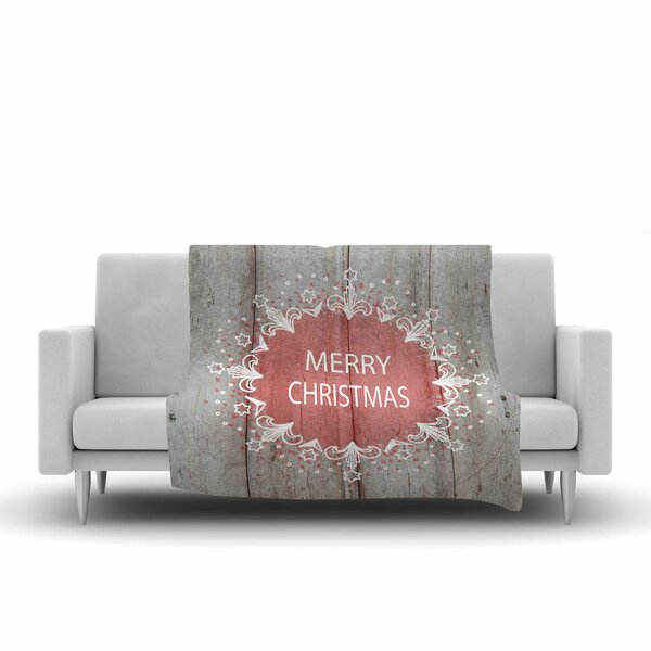 Suzanne Carter Merry Christmas Holiday Typography Fleece Throw by East Urban Home