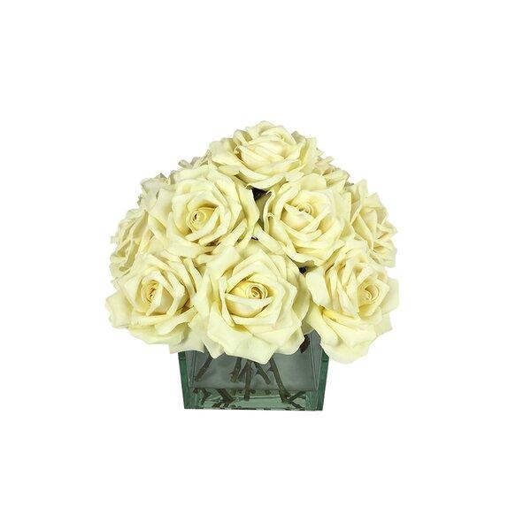 Cube Roses Floral Arrangement in Vase by Rosdorf Park
