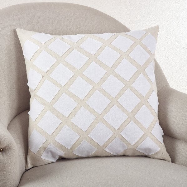 Paros Appliqué Design Cotton Throw Pillow by Saro