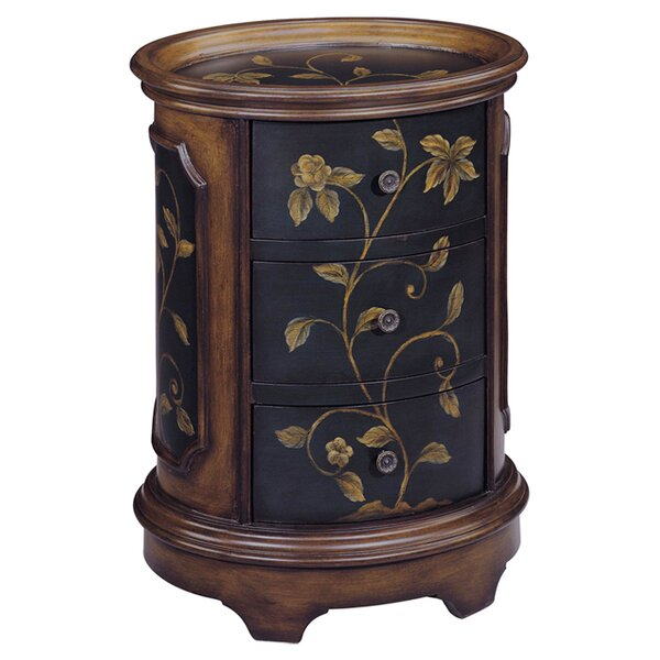 Delia Floral Oval Tray Top 3 Drawer Chest by Stein World