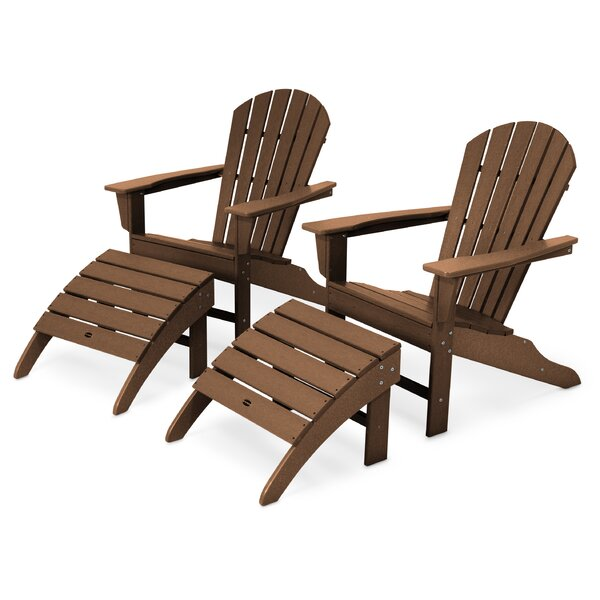 South Beach Plastic Folding Adirondack Chair with Ottoman by POLYWOOD POLYWOOD®