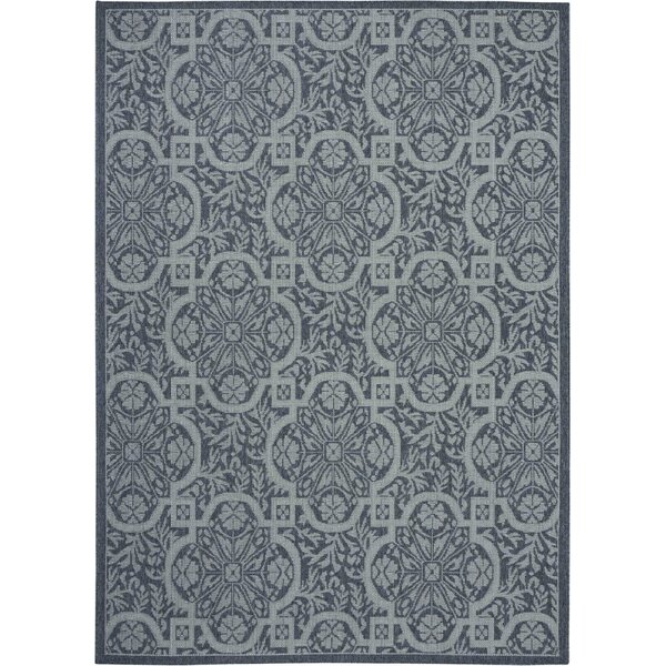 Presswood Geometric Slate Gray Indoor/Outdoor Area Rug by House of Hampton