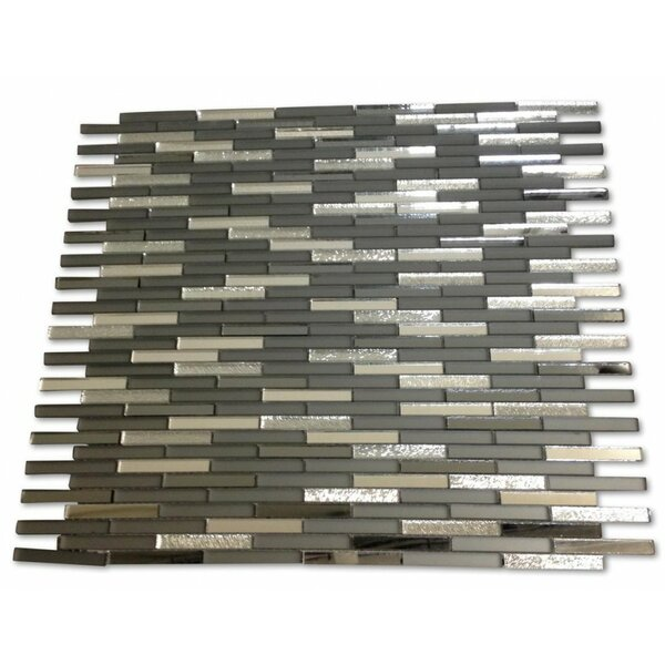 Specchio 0.25 x 2 Mixed Material Mosaic Tile in Metallic Night Terrace by Splashback Tile