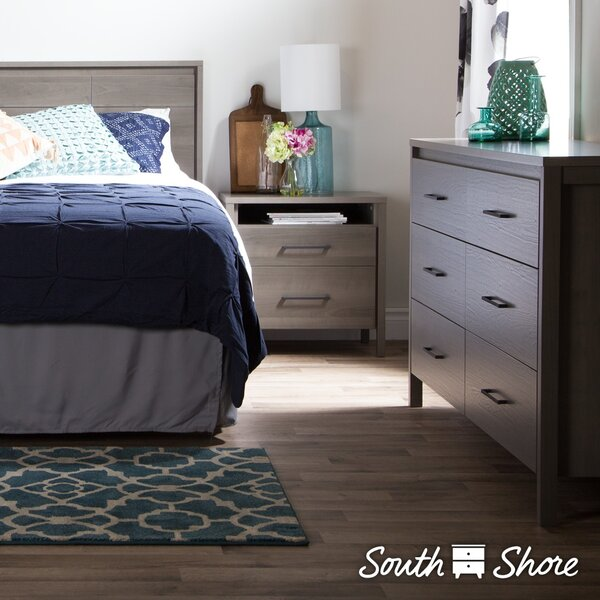 Gravity 6-Drawer Double Dresser and 2-Drawer Nightstand by South Shore