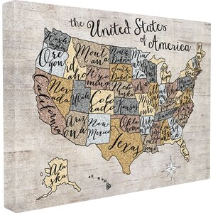 Stella 'United States Map' Framed Textual Art On Canvas by Viv + Rae