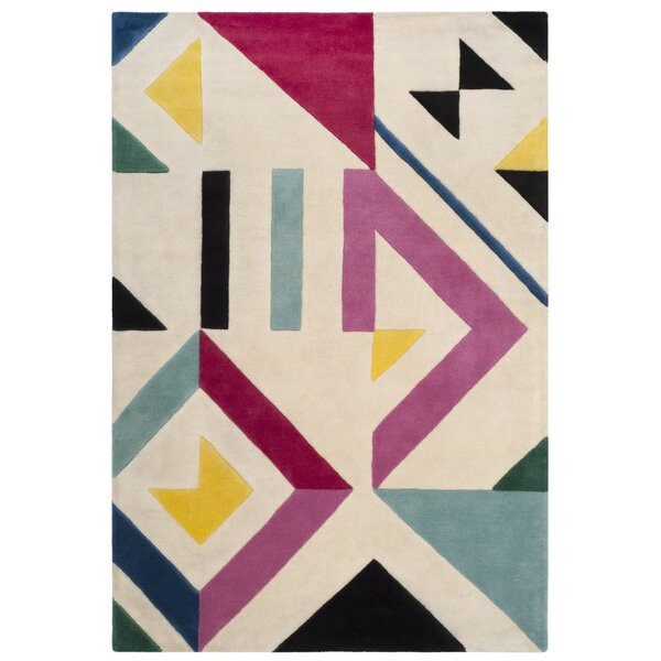 Carlberg Hand-Tufted Ivory/Pink Area Rug by Mercury Row