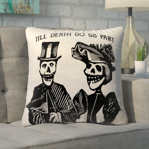 Lindy Skull Couple Linen Throw Pillow by Ivy Bronx